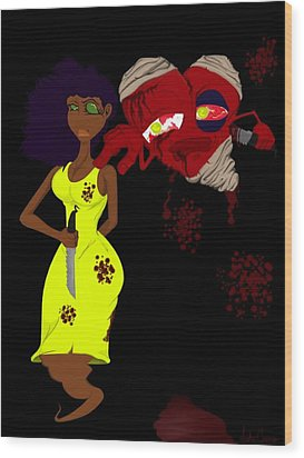 Women's Scorn Wood Print by Andre Carrion