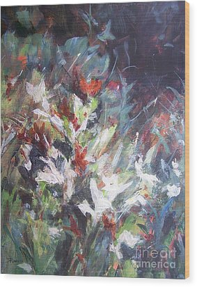 Wood Print featuring the painting Woodland Bouquet by Mary Lynne Powers