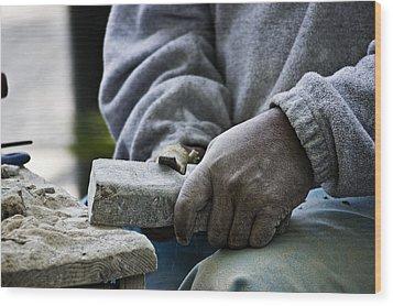 Working Hands Wood Print