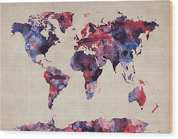 World Map Watercolor Wood Print by Michael Tompsett