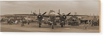 World War II B-25 Bomber Briefing Time  Wood Print by Angelo Rolt