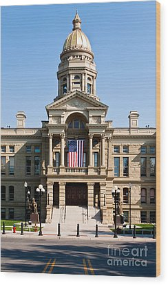 Wyoming State Capital Wood Print by Lawrence Burry