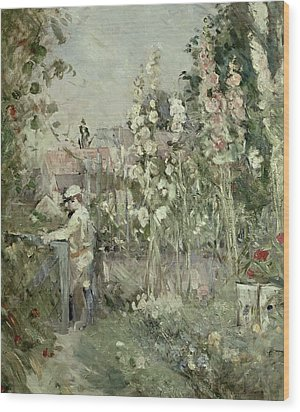 Young Boy In The Hollyhocks Wood Print by Berthe Morisot