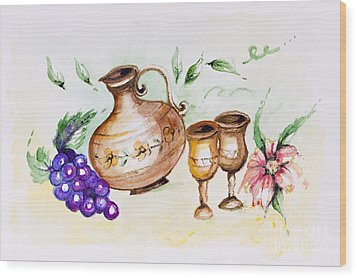 Young French Wine  Wood Print by Irina Gromovaja