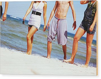 Young Friends On The Summer Beach Wood Print by Michal Bednarek