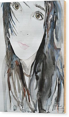 Wood Print featuring the painting Young Girl by Ismeta Gruenwald