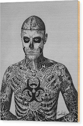 Zombie Boy Rick Genest Wood Print by Carlos Velasquez Art