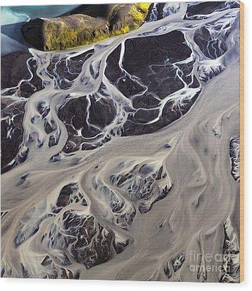 Iceland Aerial Photo Wood Print