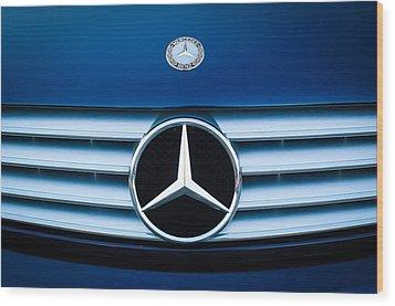 2003 Cl Mercedes Hood Ornament And Emblem Wood Print by Jill Reger