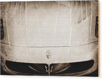 2005 Maserati Mc12 Hood Ornament Wood Print by Jill Reger