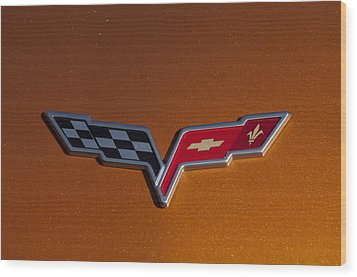 2007 Chevrolet Corvette Indy Pace Car Emblem Wood Print by Jill Reger