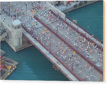 Wood Print featuring the photograph 2008 Chicago Marathon by Kay Gilley