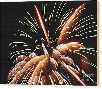 Wood Print featuring the digital art 2012 Fireworks By Aclay by Angelia Hodges Clay