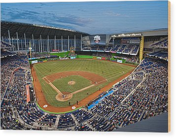 2012 Marlins Park Wood Print by Mark Whitt