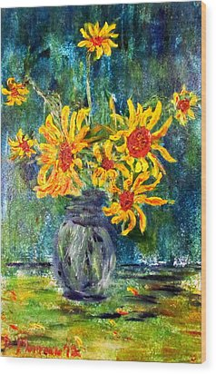 2012 Sunflowers 4 Wood Print by Denny Morreale