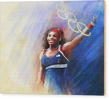 2012 Tennis Olympics Gold Medal Serena Williams Wood Print by Miki De Goodaboom