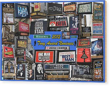 2012 Tony Award Nominees Collage Wood Print