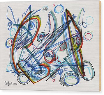2013 Abstract Drawing #12 Wood Print by Lynne Taetzsch