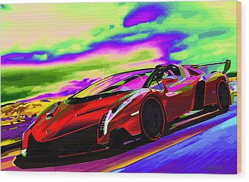 2014 Lamborghini Veneno Roadster Abstract Wood Print