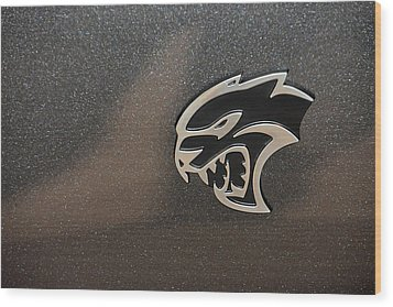 2015 Dodge Challenger Srt Hellcat Emblem Wood Print by Mike Martin