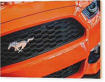 2015 Ford Mustang Prototype Grille Emblem -0092c Wood Print by Jill Reger