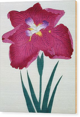 Japanese Flower Wood Print by Japanese School