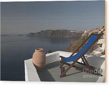 Santorini Wood Print by Borislav Stefanov