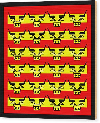 24 Spanish Bulls Wood Print by Asbjorn Lonvig