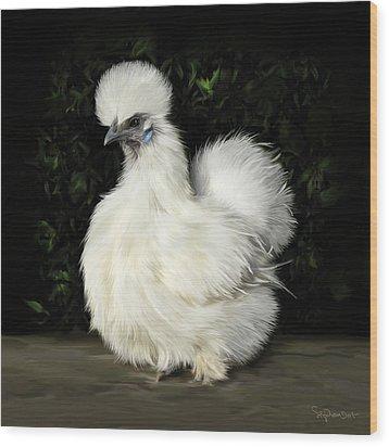 24. Tiny White Silkie Wood Print