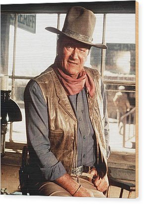 John Wayne Wood Print by Silver Screen