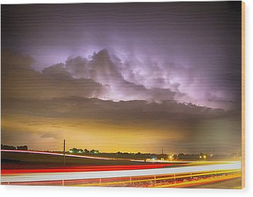 25 To 34 Intra-cloud Lightning Golden Light Car Trails Wood Print by James BO  Insogna