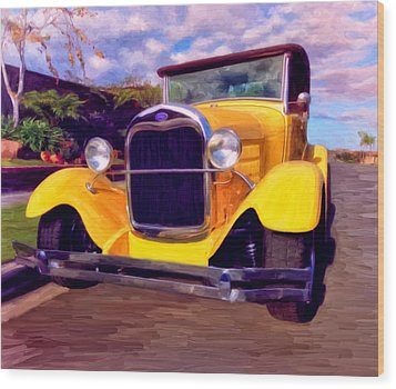 Wood Print featuring the painting '28 Ford Pick Up by Michael Pickett
