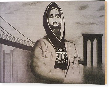 2pac Wood Print by Aileen Carruthers