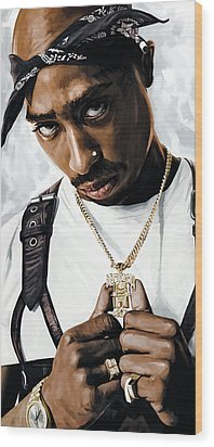 2pac Tupac Shakur Artwork  Wood Print by Sheraz A