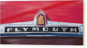 1949 Plymouth P-18 Special Deluxe Convertible Emblem Wood Print by Jill Reger