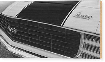 1969 Chevrolet Camaro Rs-ss Indy Pace Car Replica Grille - Hood Emblems Wood Print by Jill Reger