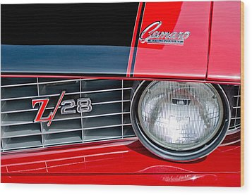 1969 Chevrolet Camaro Z 28 Grille Emblem Wood Print by Jill Reger