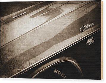 1970 Dodge Challenger Rt Convertible Emblems Wood Print by Jill Reger
