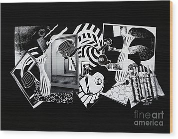 Wood Print featuring the mixed media 2d Elements In Black And White by Xueling Zou