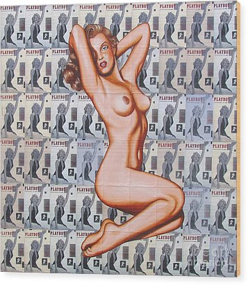 Wood Print featuring the painting 50 Cent Sweetheart by Joseph Sonday