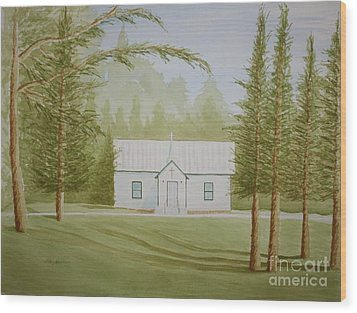 Wood Print featuring the painting A North Carolina Church by Stacy C Bottoms