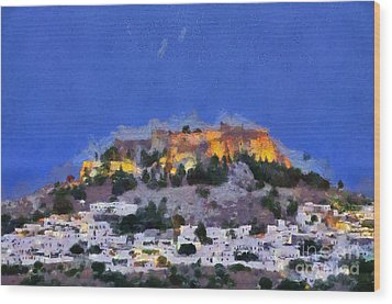 Acropolis And Village Of Lindos Wood Print