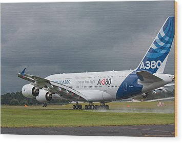 Airbus A380 Wood Print by Shirley Mitchell