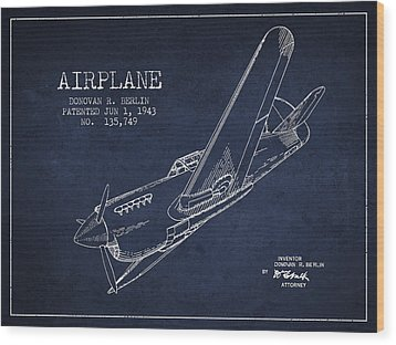 Airplane Patent Drawing From 1943 Wood Print by Aged Pixel