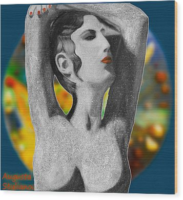 Aphrodite And  Cyprus Map Wood Print by Augusta Stylianou