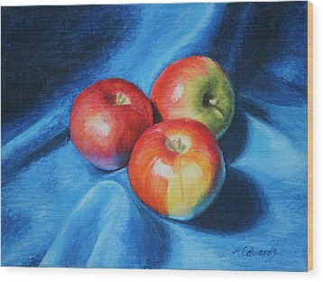 3 Apples Wood Print by Marna Edwards Flavell