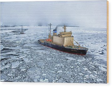 Wood Print featuring the photograph Arctic Sea Ocean Water Antarctica Winter Snow by Paul Fearn