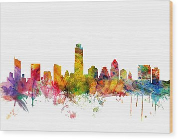 Austin Texas Skyline Wood Print by Michael Tompsett