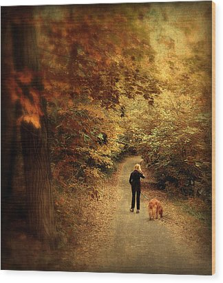 Autumn Stroll Wood Print by Jessica Jenney