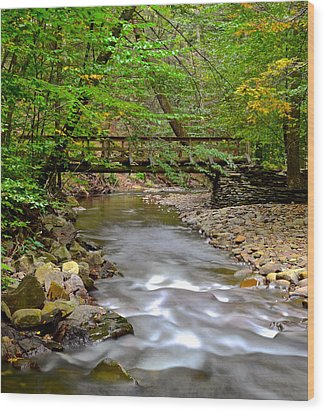 Babbling Brook Wood Print by Frozen in Time Fine Art Photography